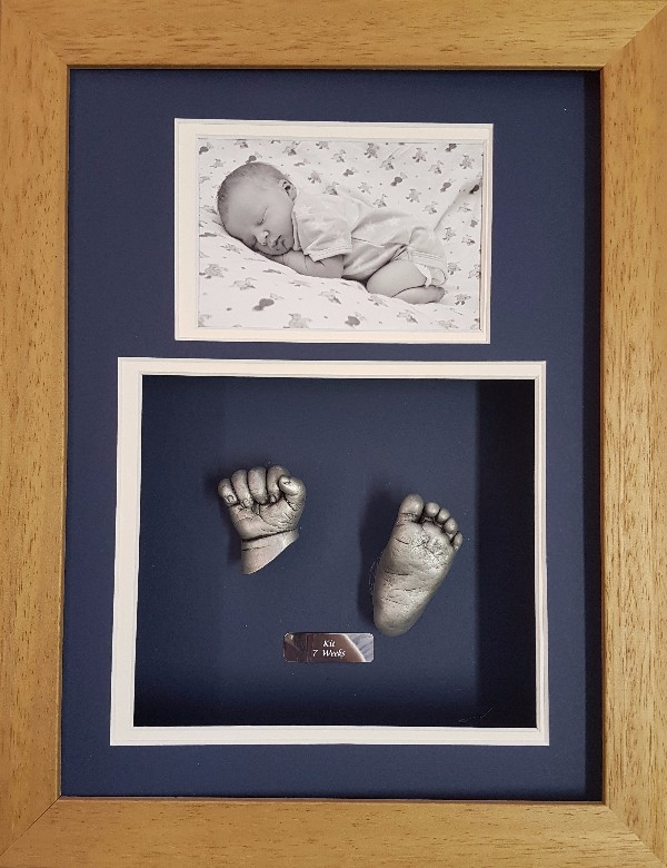 Solid Oak Silver 3D hand and foot casts with photo