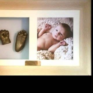 3D hand and foot bronze cast with oak frame and photo