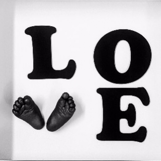 Love letters 3D foot casts framed