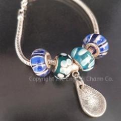 Fingerprint Pandora Style Keepsake Charm on Bracelet