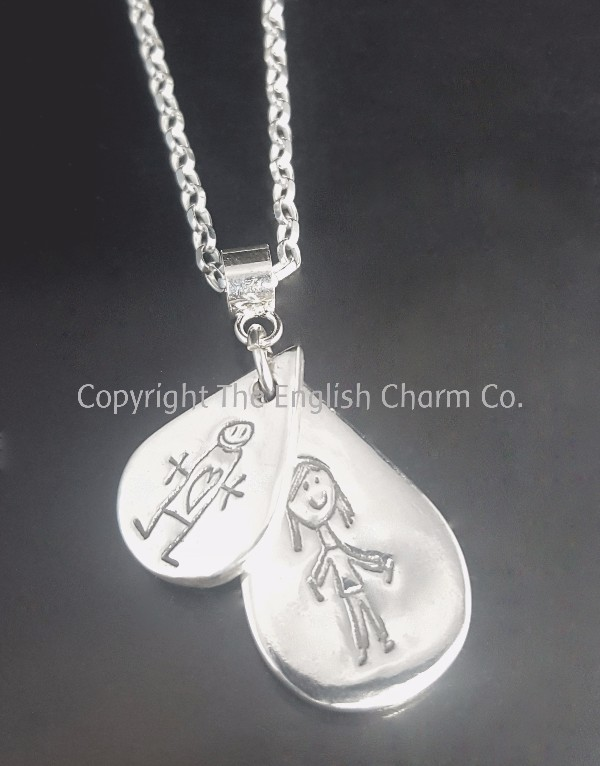 6fd3ef08c ... silver double charm, in a shape of your choice with a footprint,  handprint or drawing and name included, on a sterling silver necklace of  your choice.