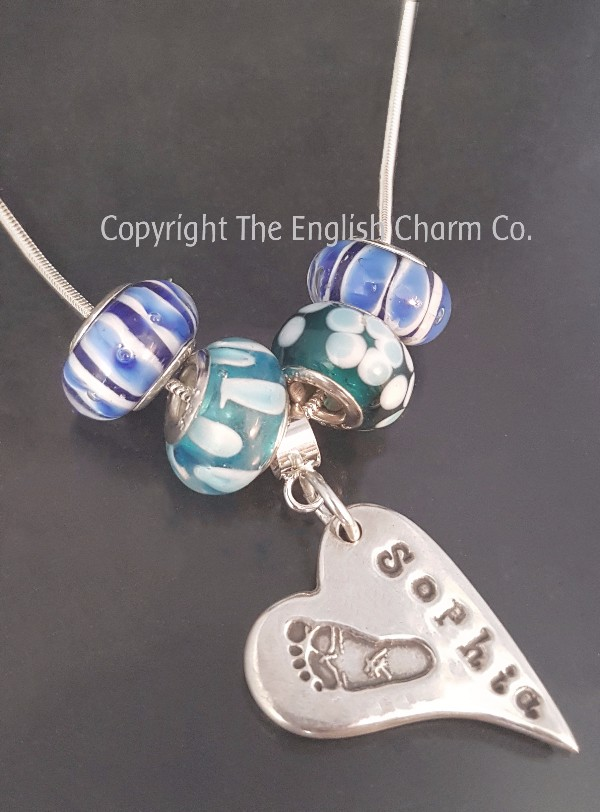 187a0fbec personalised pandora style necklace with handprint / footprint / drawing