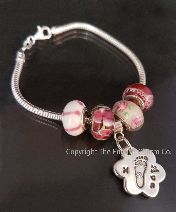 838fa7af7 Pandora Style Bracelet with Handprint, Footprint or Drawing - silver ...