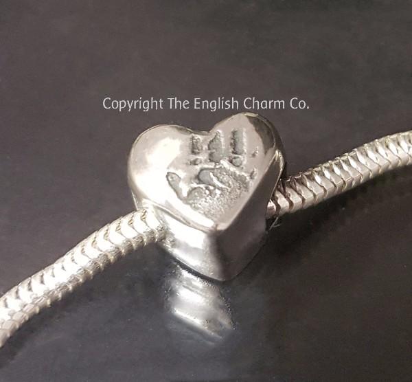 ef2d65acf personalised bracelet bead charm - with footprint, handprint or drawing