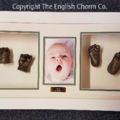 3D baby hand and foot cast framed with a photo