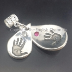 Double Handprint Silver Keepsake Charm only
