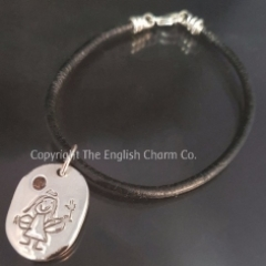 Drawing Charm on Black Leather Bracelet