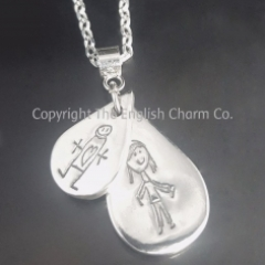 Double Drawing Keepsake Charm on Chain