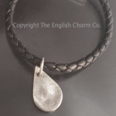 Fingerprint Charm on Black Bollo Bracelet