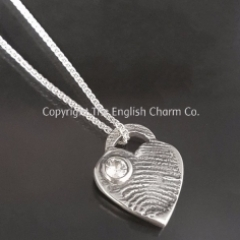 Heart Tag Tiffany Style Fingerprint Charm and necklace