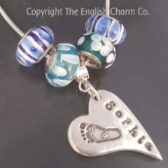 Footprint Charm on Snake Chain with beads