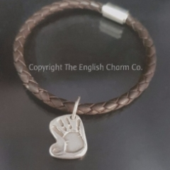 Handprint Charm on Brown Bollo Bracelet