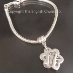 Footprint Charm on Snake Bracelet