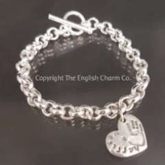 Handprint on T Bar Toggle Bracelet