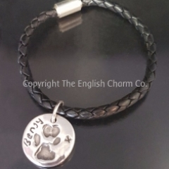 Paw print Charm on Black leather Bollo Bracelet