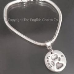 Pet paw print Charm on snake bracelet