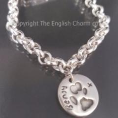 Paw Print charm on t-bat toggle bracelet