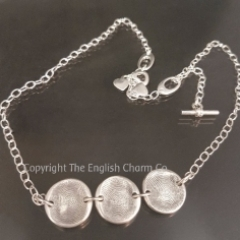 Triple disc fingerprint charm on necklace