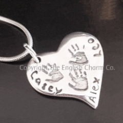 Triple Handprint Charm on Chain