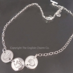 Triple handprint Disc Charm on Chain